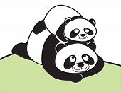 family panda mom and child
