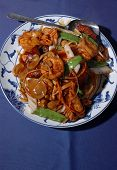 picture of chinese food  - chinese ten ingredient pan fried noodles dish - JPG
