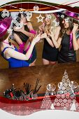 stock photo of hen party  - Happy gorgeous women having hen party against christmas frame - JPG
