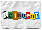 picture of refreshing  - Reinvent word in cut out letters to illustrate a product or idea refresh - JPG