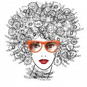 pic of kinky  - art sketched beautiful girl face with eyeglasses and curly hairs  in black graphic isolated on white background - JPG
