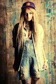 pic of dreadlocks  - Modern teenage girl with blonde dreadlocks - JPG