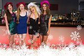 pic of hen party  - Portait of laughing friends having a hen party against snowflakes - JPG
