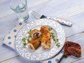 foto of swordfish  - breaded swordfish stuffed with dried tomatoes - JPG