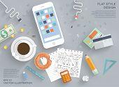 stock photo of mug shot  - Flat Style Modern Design Concept of Creative Office Workspace - JPG