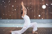 image of tai-chi  - Content brunette in white doing tai chi against snow - JPG