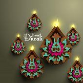 stock photo of deepavali  - Vector Diwali Diya  - JPG