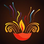 image of diya  - Vector beautiful diwali diya background  - JPG