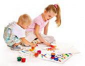 pic of finger-painting  - Happy family with child painting by finger paint - JPG