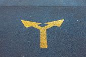 picture of turn-up  - Arrow sign on the asphalt road - JPG