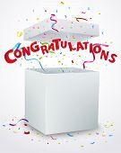 stock photo of congratulations  - Vector Illustration of Congratulations message box with confetti - JPG