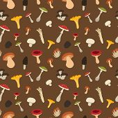 image of morel mushroom  - Mushroom seamless pattern with flat design - JPG