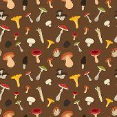 image of morel mushroom  - Mushroom seamless pattern with flat design - JPG