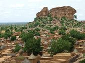 stock photo of dogon  - Aerial view of an interior village of Mali - JPG