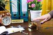 picture of receptionist  - woman receptionist of hotel check in with plants - JPG
