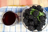 image of mulberry  - fresh mulberries and juice view from above - JPG
