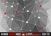 stock photo of node  - Low Poly trangular network with nodes background for your futuristic flyer - JPG