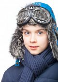 foto of cold-shoulder  - Cheerful kid wearing winter clothes on white background - JPG