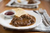 picture of home-made bread  - deer meat in wine sauce and home made dumplings - JPG