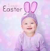 picture of baby easter  - Portrait of cute cheerful Easter bunny - JPG