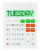 stock photo of tuesday  - Calculator with TUESDAY on display isolated on white background - JPG