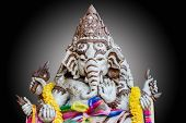 pic of ganesh  - A closeup the face of Ganesh statue - JPG