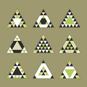 stock photo of olive shaped  - Geometrical tile equilateral triangles icons set  - JPG