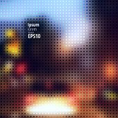 stock photo of dots  - Blurred abstract background of nigth city with polka dot - JPG