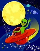 picture of waving hands  - cartoon alien flying a spaceship and waving his hand - JPG