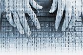 stock photo of keyboard  - Closeup of hands on laptop keyboard in binary data - JPG