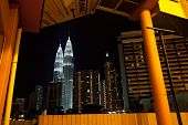 stock photo of petronas twin towers  - uncommon view of petronas towers in kuala lumpur malaysia - JPG