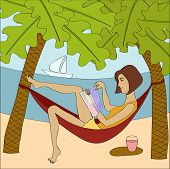 stock photo of palm-reading  - Brunette woman reading magazine while sitting in hammock at the seaside - JPG