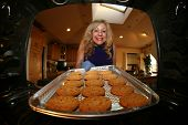 stock photo of cookie  - Hot and Fresh COOKIES right from the oven - JPG