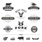 foto of labelling  - Grill BBQ Cow PIG Retro Vintage Labels Logo design vector typography lettering templates.  Old style elements, business signs, logos, label, badges, stamps and symbols. Restaurant, butchery theme. - JPG
