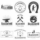 image of blacksmith shop  - Set of nine vintage blacksmith labels - JPG