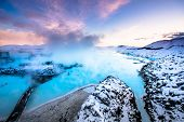stock photo of arctic landscape  - the famous blue lagoon near Reykjavik - JPG