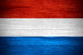 image of holland flag  - The Netherlands Holland flag or Dutch banner on wooden texture - JPG
