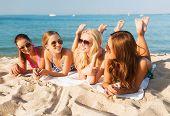 picture of sunbathing woman  - summer vacation - JPG