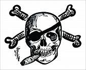 stock photo of skull bones  - Hand draw Skull with Bones  - JPG