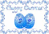 foto of risen  - Greeting card for Easter with ornament in style of russian Gzhel - JPG