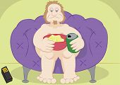 pic of couch potato  - lazy guy couch potato with chips and beer vector illustration - JPG