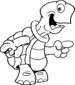 stock photo of turtle shell  - Black and white illustration of a turtle pointing - JPG