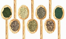 foto of irish moss  - a collection of seaweed and algae dietary supplements on wooden spoons  - JPG