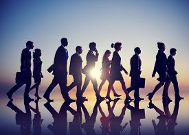 stock photo of commutator  - Business People Commuting Rush Hour Concept - JPG