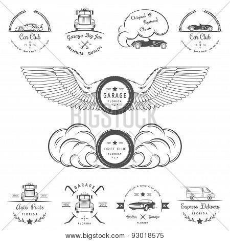 poster of Set Of Vintage Badges Car Club And Garage