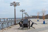 stock photo of dnepropetrovsk  - Spring landscape on the city embankment - JPG