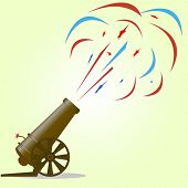 foto of cannonball  - salute of guns in honor of Independence Day - JPG