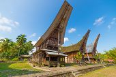 foto of traditional  - Row of traditional houses in a tipical traditional village of Tana Toraja South Sulawesi Indonesia - JPG