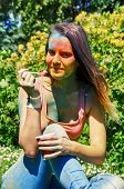 picture of holi  - girl eating ice - JPG
