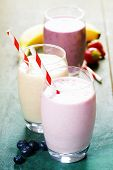 stock photo of banana  - Fruit smoothies with black currant - JPG